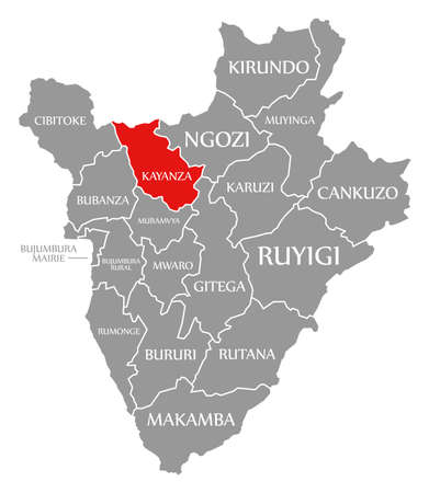 Ngozi red highlighted in map of Burundi 免版税图像