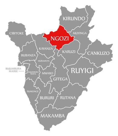 Ngozi red highlighted in map of Burundi 免版税图像 - 152568605