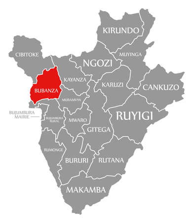 Ngozi red highlighted in map of Burundi Reklamní fotografie