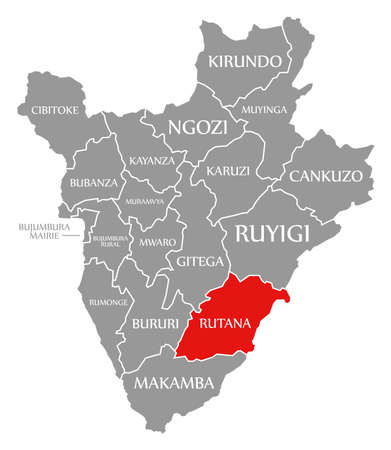 Rumonge red highlighted in map of Burundi