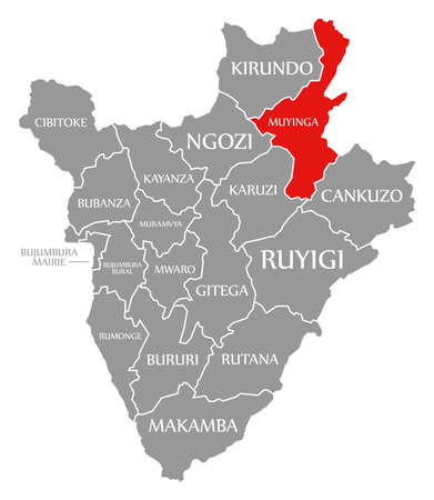 Muyinga red highlighted in map of Burundi 免版税图像