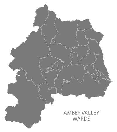 Wards map of Amber Valley district in East Midlands England UK gray 스톡 콘텐츠