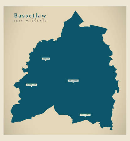 Bassetlaw district map - England UK