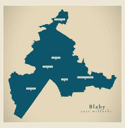 Blaby district map - England UK illustration