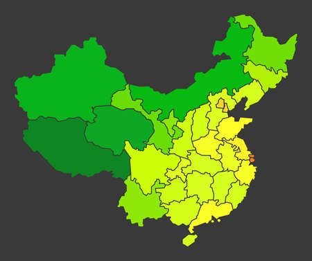 China population heat map as color density illustration 스톡 콘텐츠