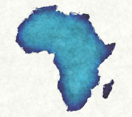 Africa map with drawn lines and blue watercolor illustration