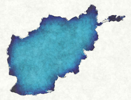 Afghanistan map with drawn lines and blue watercolor illustration