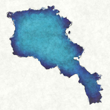 Armenia map with drawn lines and blue watercolor illustration