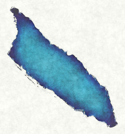 Aruba map with drawn lines and blue watercolor illustration