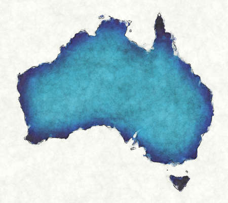 Australia map with drawn lines and blue watercolor illustration Фото со стока