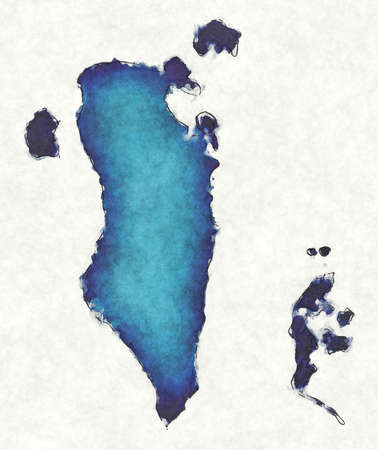 Bahrain map with drawn lines and blue watercolor illustration Фото со стока