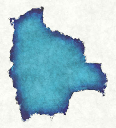 Bolivia map with drawn lines and blue watercolor illustration Фото со стока