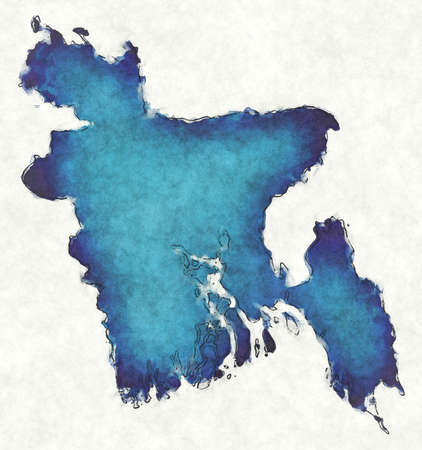 Bangladesh map with drawn lines and blue watercolor illustration