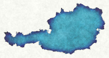 Austria map with drawn lines and blue watercolor illustration