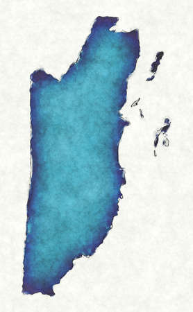 Belize map with drawn lines and blue watercolor illustration Фото со стока