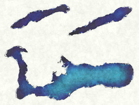Cayman Islands map with drawn lines and blue watercolor illustration