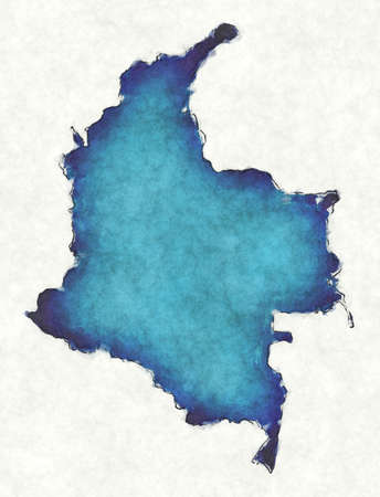 Colombia map with drawn lines and blue watercolor illustration
