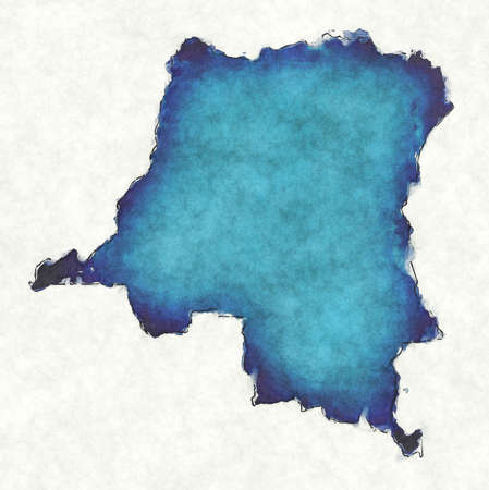 Congo Democratic Republic map with drawn lines and blue watercolor illustration