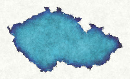 Czech Republic map with drawn lines and blue watercolor illustration Фото со стока