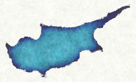 Cyprus map with drawn lines and blue watercolor illustration Фото со стока