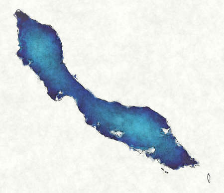 Curacao map with drawn lines and blue watercolor illustration Фото со стока