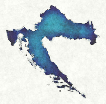 Croatia map with drawn lines and blue watercolor illustration