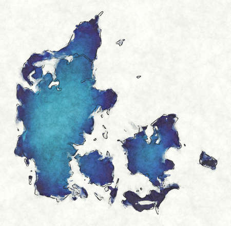 Denmark map with drawn lines and blue watercolor illustration