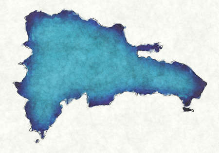 Dominican Republic map with drawn lines and blue watercolor illustration Фото со стока