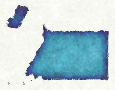 Equatorial Guinea map with drawn lines and blue watercolor illustration Фото со стока