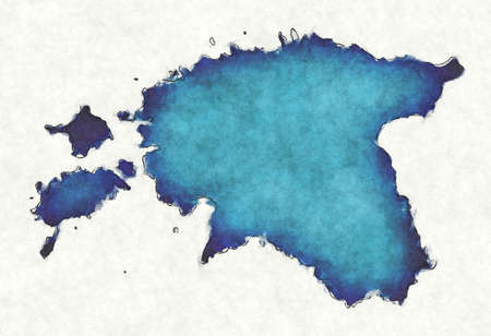Estonia map with drawn lines and blue watercolor illustration