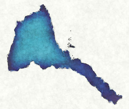 Eritrea map with drawn lines and blue watercolor illustration
