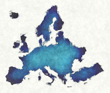 Europe map with drawn lines and blue watercolor illustration Stock fotó