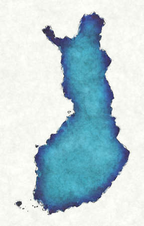 Finland map with drawn lines and blue watercolor illustration Stock fotó