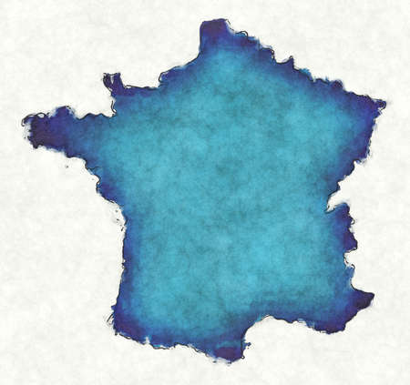 France map with drawn lines and blue watercolor illustration