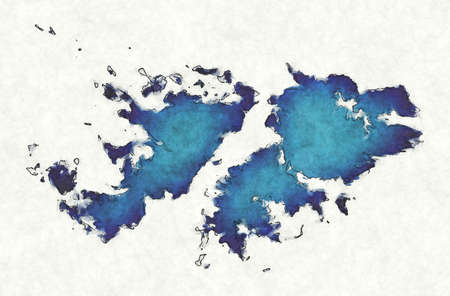 Falkland Islands map with drawn lines and blue watercolor illustration