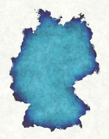 Germany map with drawn lines and blue watercolor illustration