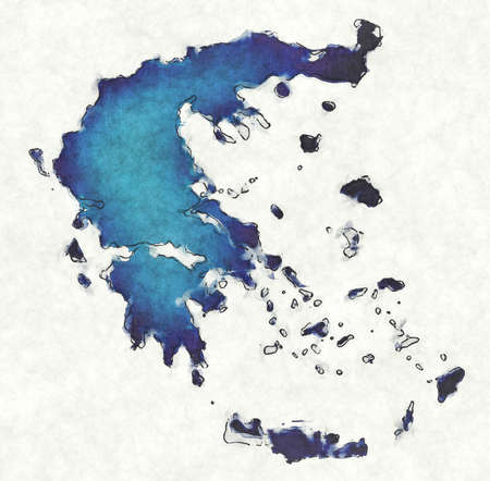 Greece map with drawn lines and blue watercolor illustration Stock fotó