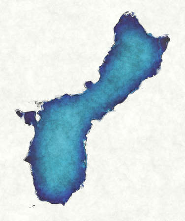 Guam map with drawn lines and blue watercolor illustration
