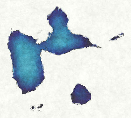 Guadeloupe map with drawn lines and blue watercolor illustration