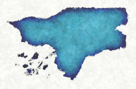 Guinea Bissau map with drawn lines and blue watercolor illustration