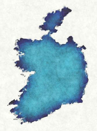 Ireland map with drawn lines and blue watercolor illustration