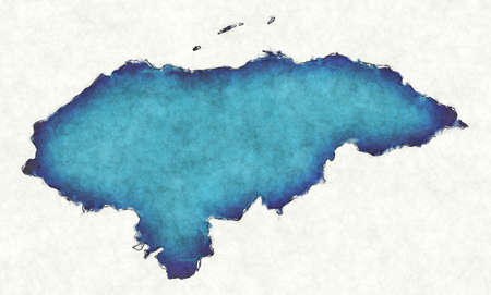 Honduras map with drawn lines and blue watercolor illustration
