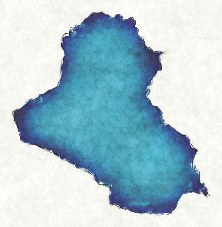 Iraq map with drawn lines and blue watercolor illustration