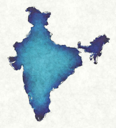 India map with drawn lines and blue watercolor illustration Фото со стока - 168027022