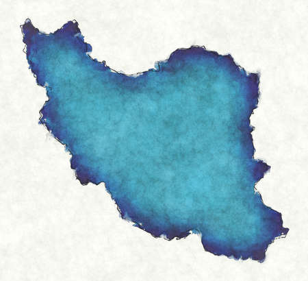 Iran map with drawn lines and blue watercolor illustration 版權商用圖片
