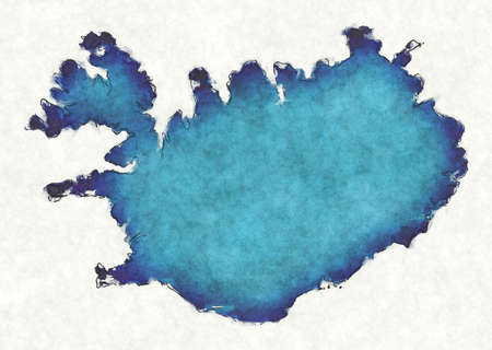 Iceland map with drawn lines and blue watercolor illustration Stock fotó