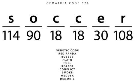 Soccer word code in the English Gematria Stock Photo