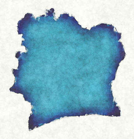 Ivory Coast map with drawn lines and blue watercolor illustration
