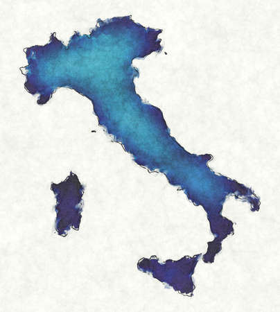 Italy map with drawn lines and blue watercolor illustration