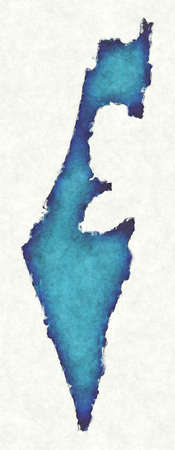 Israel map with drawn lines and blue watercolor illustration